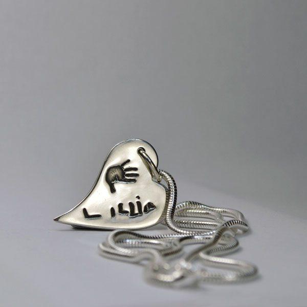 Little Sprout Keepsake Jewellery Medium Bendy Heart Handprint Necklace