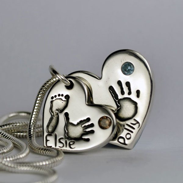 Little Sprout Keepsake Jewellery Double-Stacked Chunky Handprint and Footprint Heart Pendant with Birthstones on Silver Snake Necklace