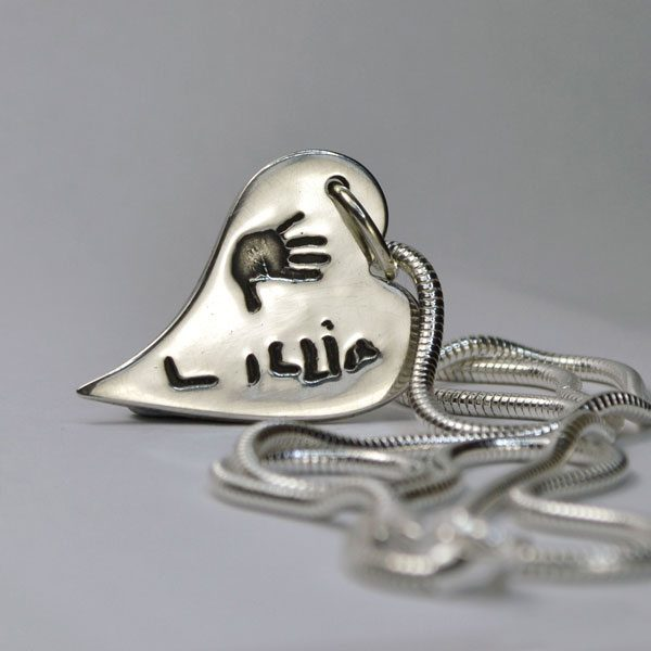 Little Sprout Keepsake Jewellery Medium Bendy Heart Pendant Handprint Necklace